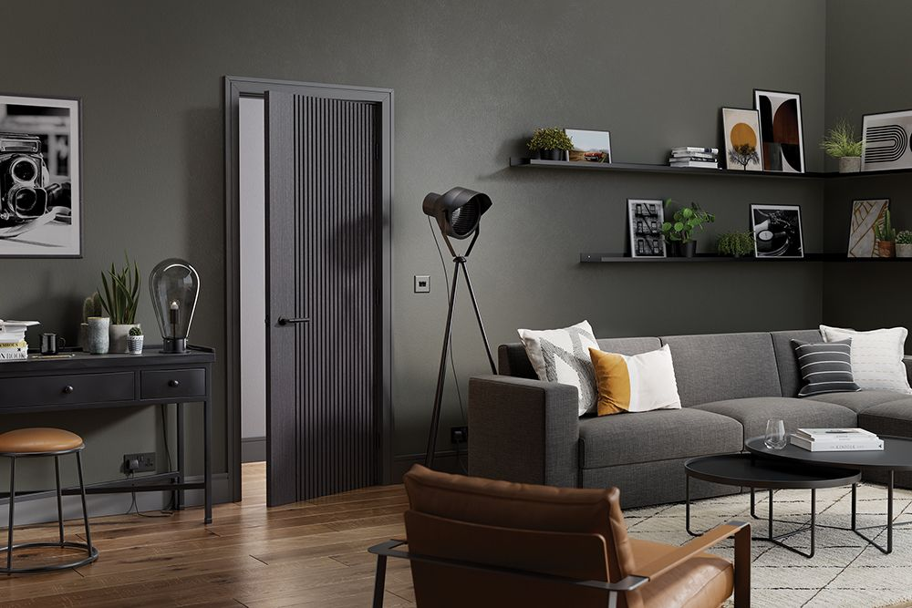 Room setting featuring the Ash grey paint finished Melbourne interior door