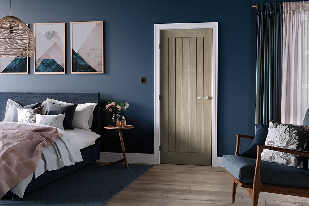 Interior lifestyle image showing the Belize light grey paint finished internal door