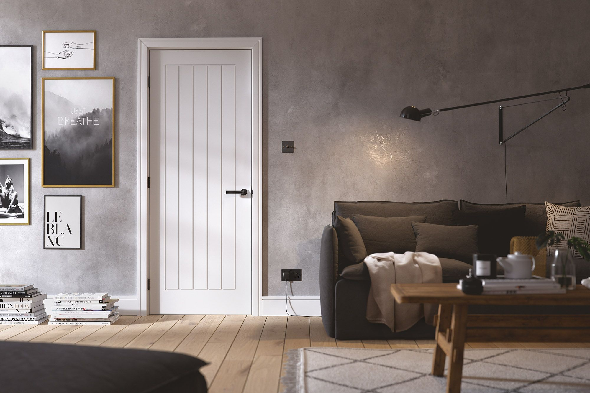 A popular white Mexicano internal door in a lifestyle room setting