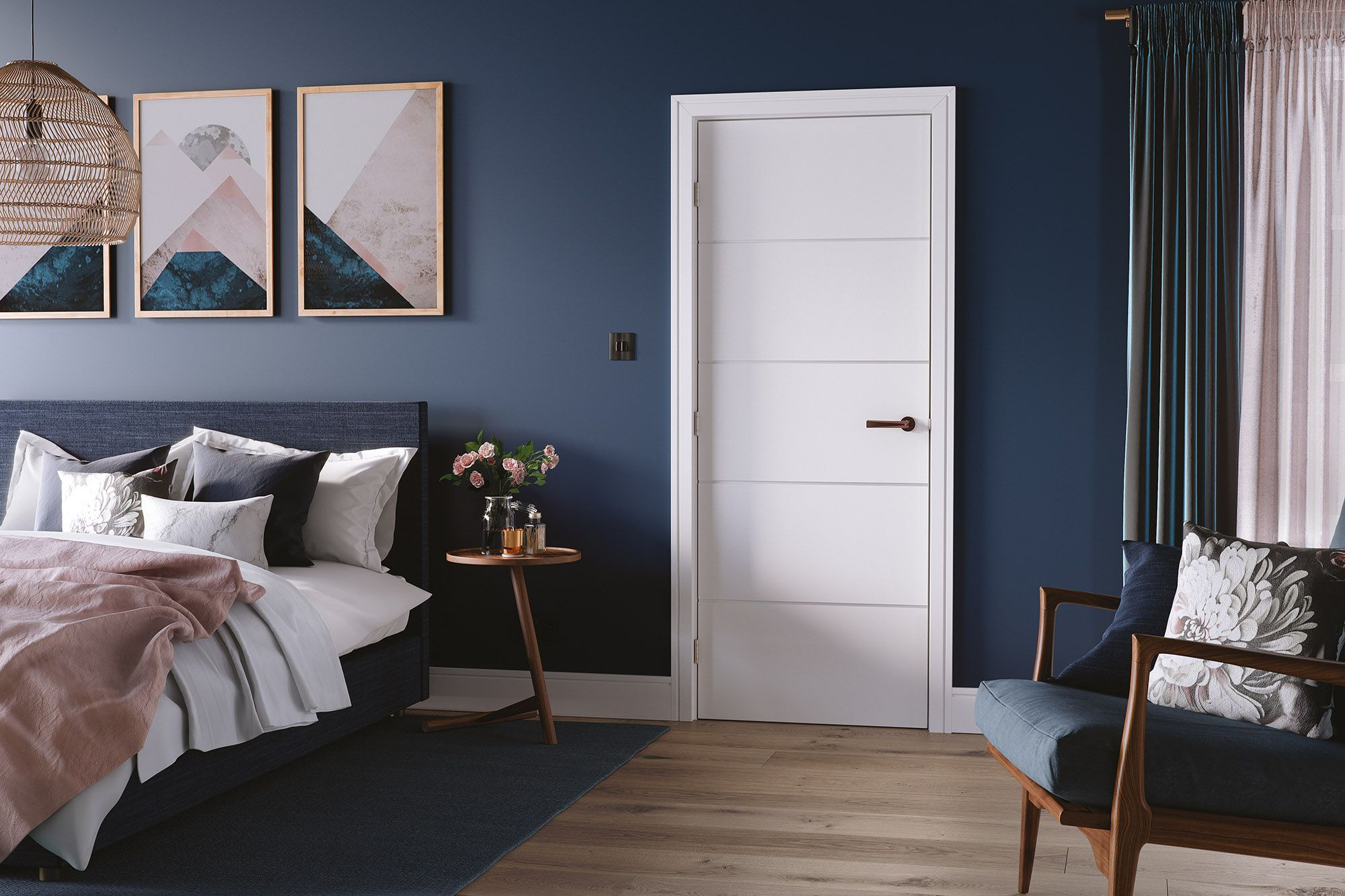 White moulded internal door with horizontal lines